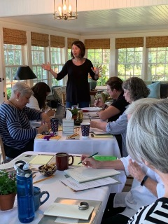 Speaking (animatedly!) at Cedar Ridge Writers (1)